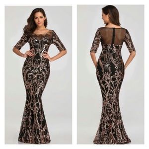 Preorder | Black Gold Sequin Embelish Mermaid Gown
